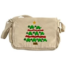 Fun Turtle Christmas Tree Art Messenger Bag