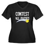 Contest All Passes Women's Plus Size V-Neck Dark T