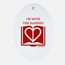 Love Banned Books Oval Ornament