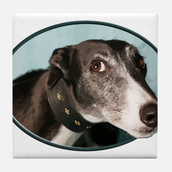 Guilty Greyhound in Oval Tile Coaster