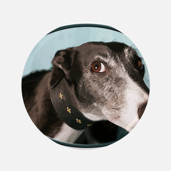 Guilty Greyhound in Oval Button