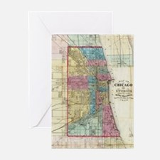 Vintage Map of Chicago (1869) Greeting Cards