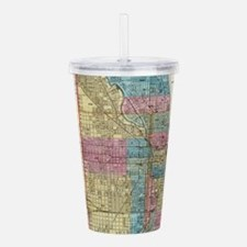 Vintage Map of Chicago Acrylic Double-wall Tumbler