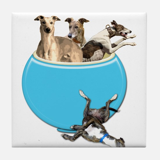 Greyhounds Like Potato Chips Tile Coaster