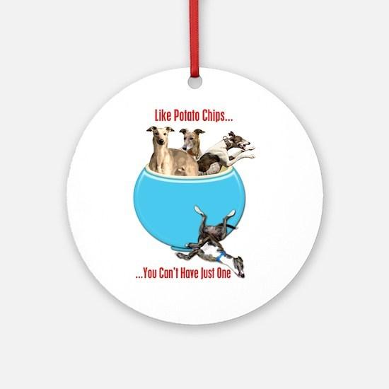 Greyhounds Like Potato Chips Round Ornament