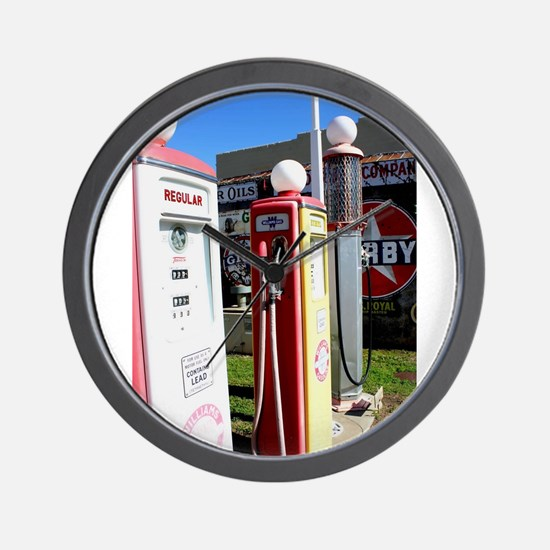 Route 66 gas pumps. Wall Clock