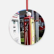 Route 66 gas pumps. Round Ornament
