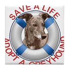 Greyhound in a Life Preserver Tile Coaster