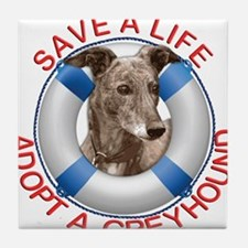 Greyhound in a Life Preserver Tile Coaster