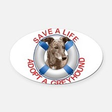 Greyhound in a Life Preserver Oval Car Magnet