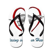 Greyhound Racing into your Heart Flip Flops
