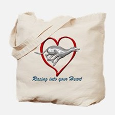 Greyhound Racing into your Heart Tote Bag