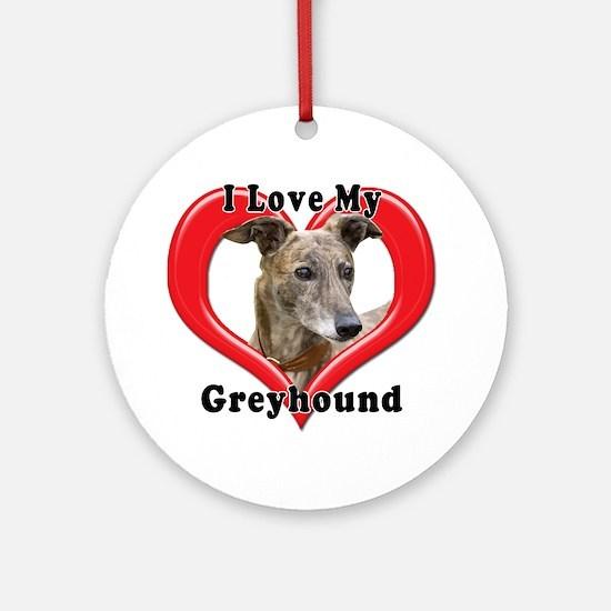 I love my Greyhound logo Round Ornament