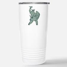 Viking Warrior Striking Sword Etching Travel Mug