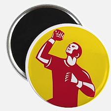 Athlete Fist Pump Circle Retro Magnets
