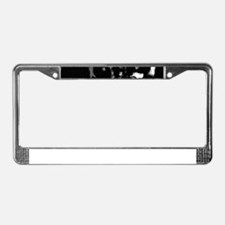Black and White Old Tractor License Plate Frame