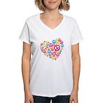 Love & Peace in Heart Women's V-Neck T-Shirt