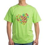 Love & Peace in Heart Green T-Shirt