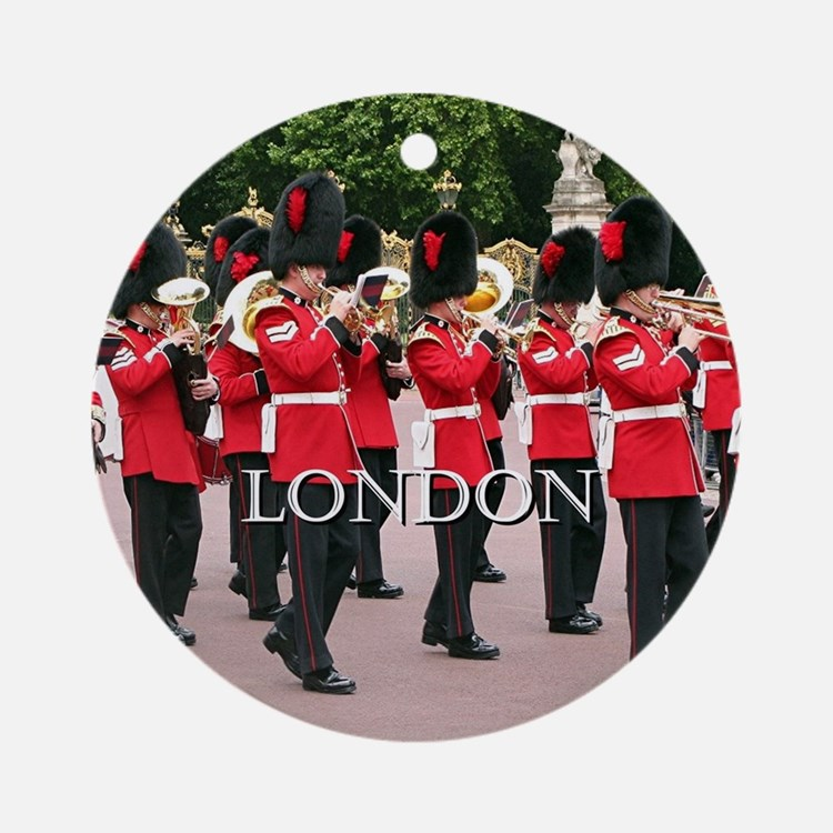 Guards Band, London (caption) Round Ornament