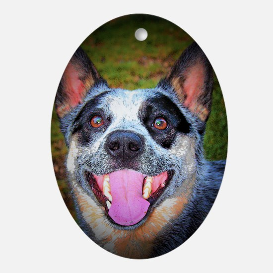 """Smiling Bluey"" AuCaDogs Oval Ornament"