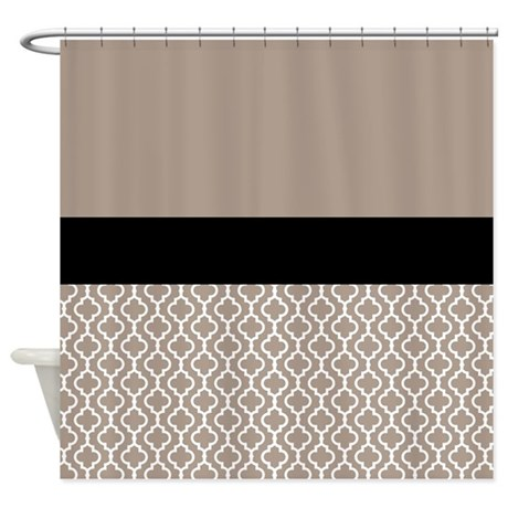 Black Taupe Quatrefoil Shower Curtain By