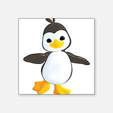 """Funny Penguin Square Sticker 3"""" x 3"""""""
