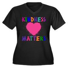 Cute Positive Women's Plus Size V-Neck Dark T-Shirt