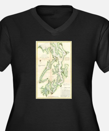 Vintage Map of The Puget Sound ( Plus Size T-Shirt