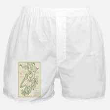 Vintage Map of The Puget Sound (1867) Boxer Shorts