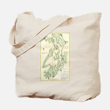 Vintage Map of The Puget Sound (1867) Tote Bag