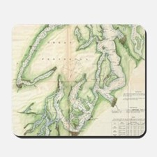 Vintage Map of The Puget Sound (1867) Mousepad