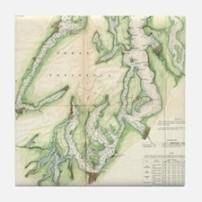 Vintage Map of The Puget Sound (1867) Tile Coaster
