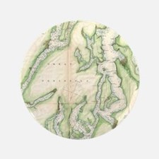 Vintage Map of The Puget Sound (1867) Button