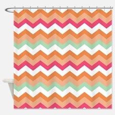 Peachy Pink Coral Minty Mix Shower Curtain