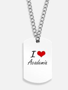 I Love Academia Artistic Design Dog Tags