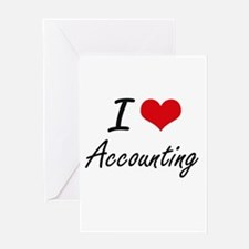 I Love Accounting Artistic Design Greeting Cards