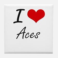 I Love Aces Artistic Design Tile Coaster