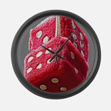 Red Fuzzy Dice Large Wall Clock