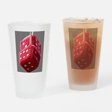 Red Fuzzy Dice Drinking Glass