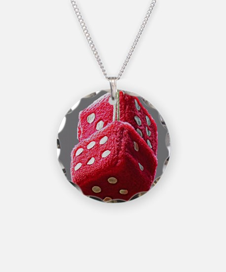 Red Fuzzy Dice Necklace