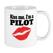 Kiss Me Im A Pilot Mugs