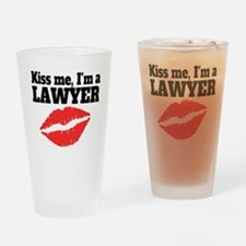 Kiss Me Im A Lawyer Drinking Glass