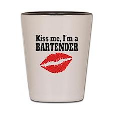 Kiss Me Im A Bartender Shot Glass