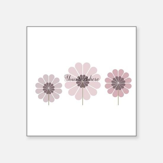 "Cute Pink Flowers Square Sticker 3"" x 3"""