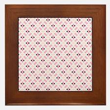 Pink and Black Diamonds Framed Tile