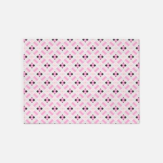 Pink and Black Diamonds 5'x7'Area Rug