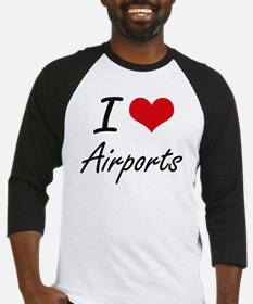 I Love Airports Artistic Design Baseball Jersey
