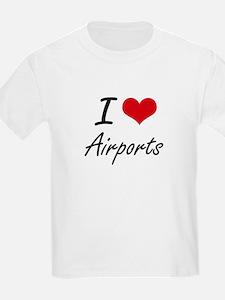 I Love Airports Artistic Design T-Shirt