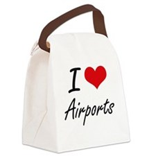 I Love Airports Artistic Design Canvas Lunch Bag