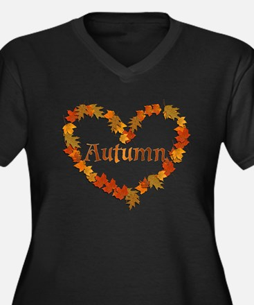 Cute Autumn Women's Plus Size V-Neck Dark T-Shirt